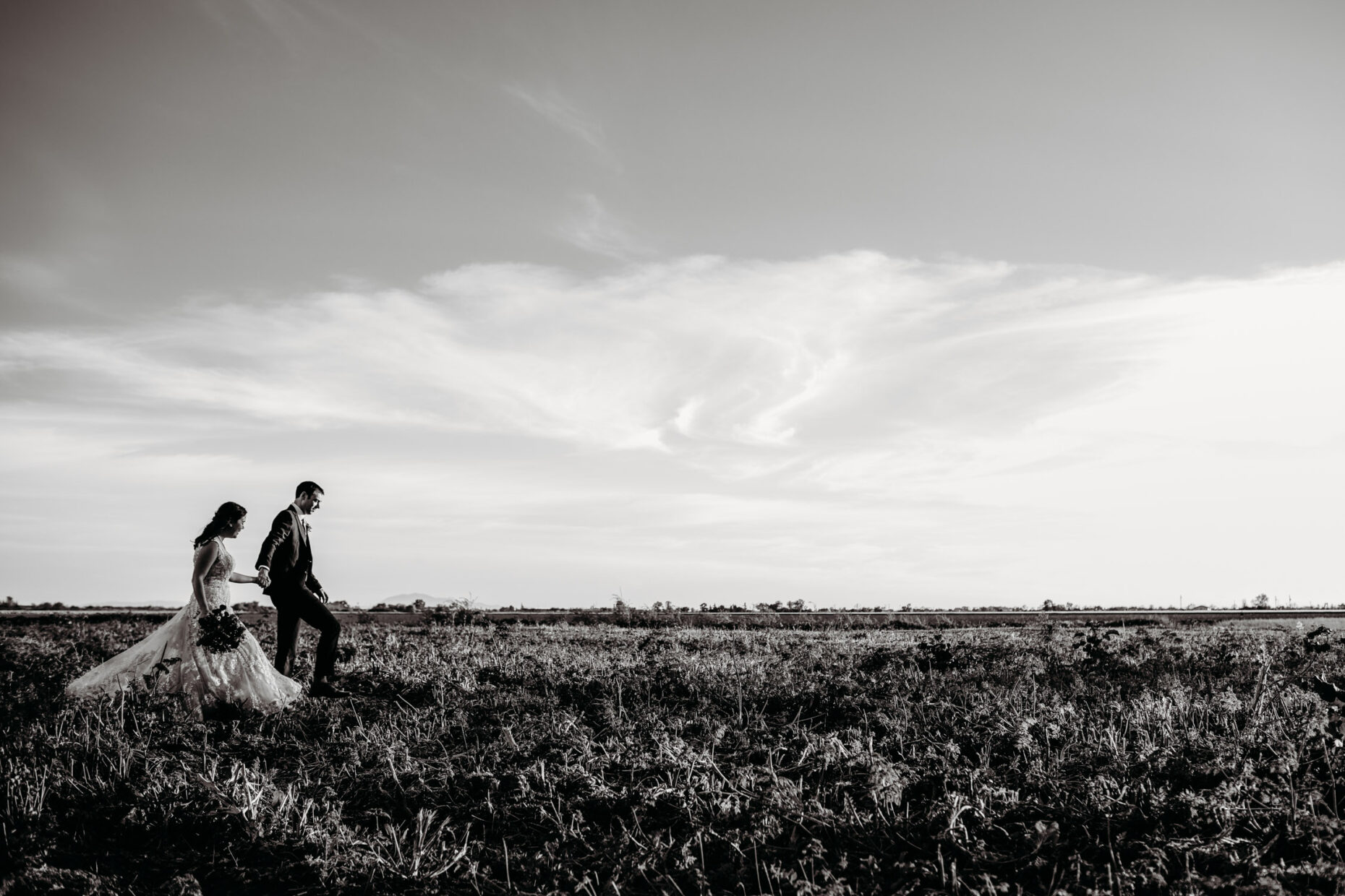 Bride and groom walking in the fields at Julietta's winery