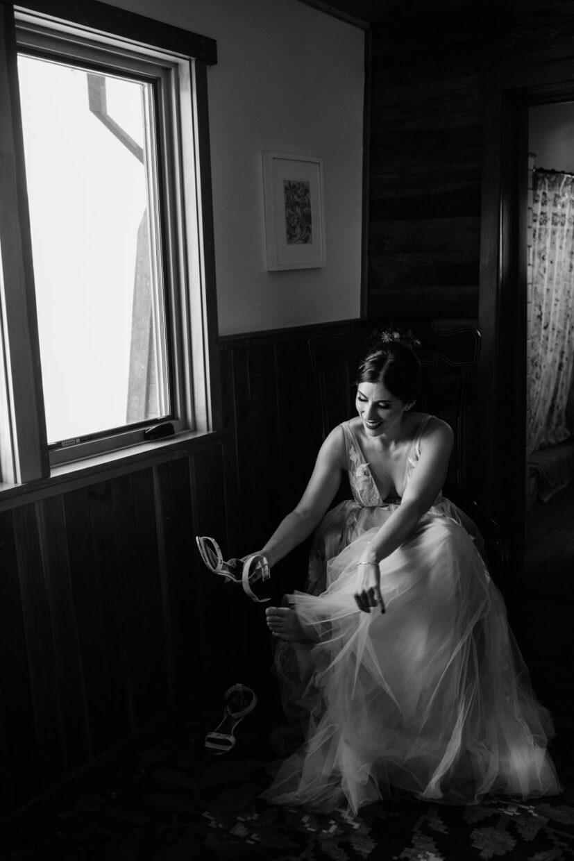 Bride getting ready at Full Belly Farm