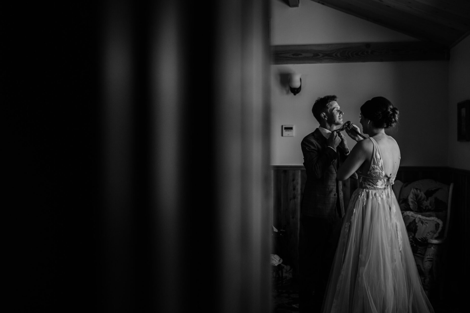 Bride and groom intimate moment after first look at full belly farm