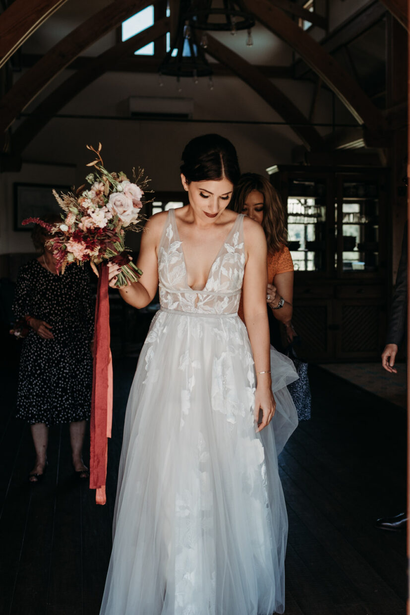 Bride ready to walk out to her wedding ceremony
