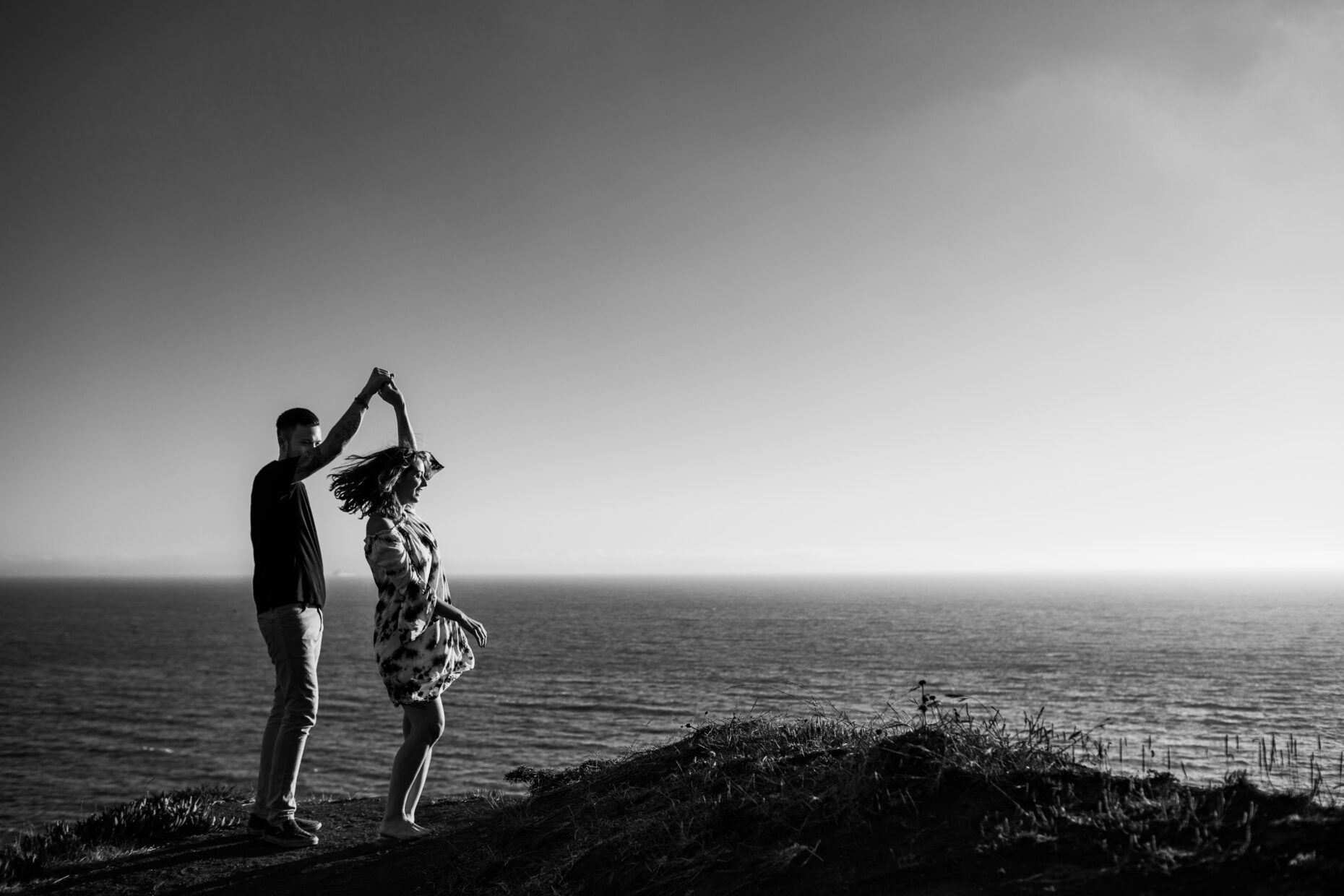 marin headlands engagement twirl couples