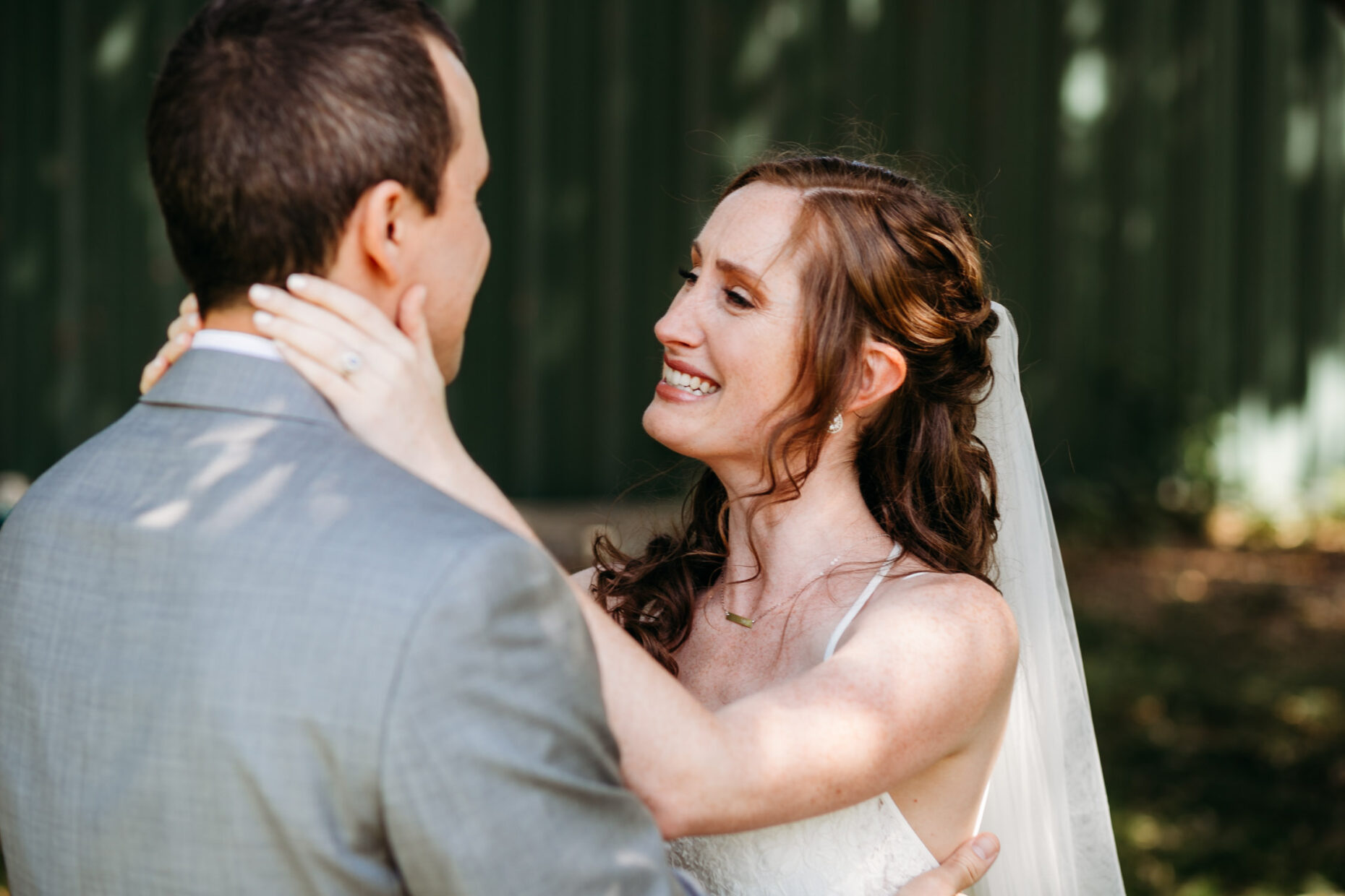 emotional first look bride and groom at julietta's winery