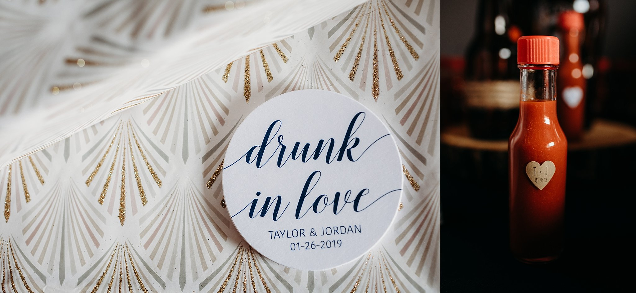 wedding details. drunk in love coasters. personalized mini hot sauce party favors