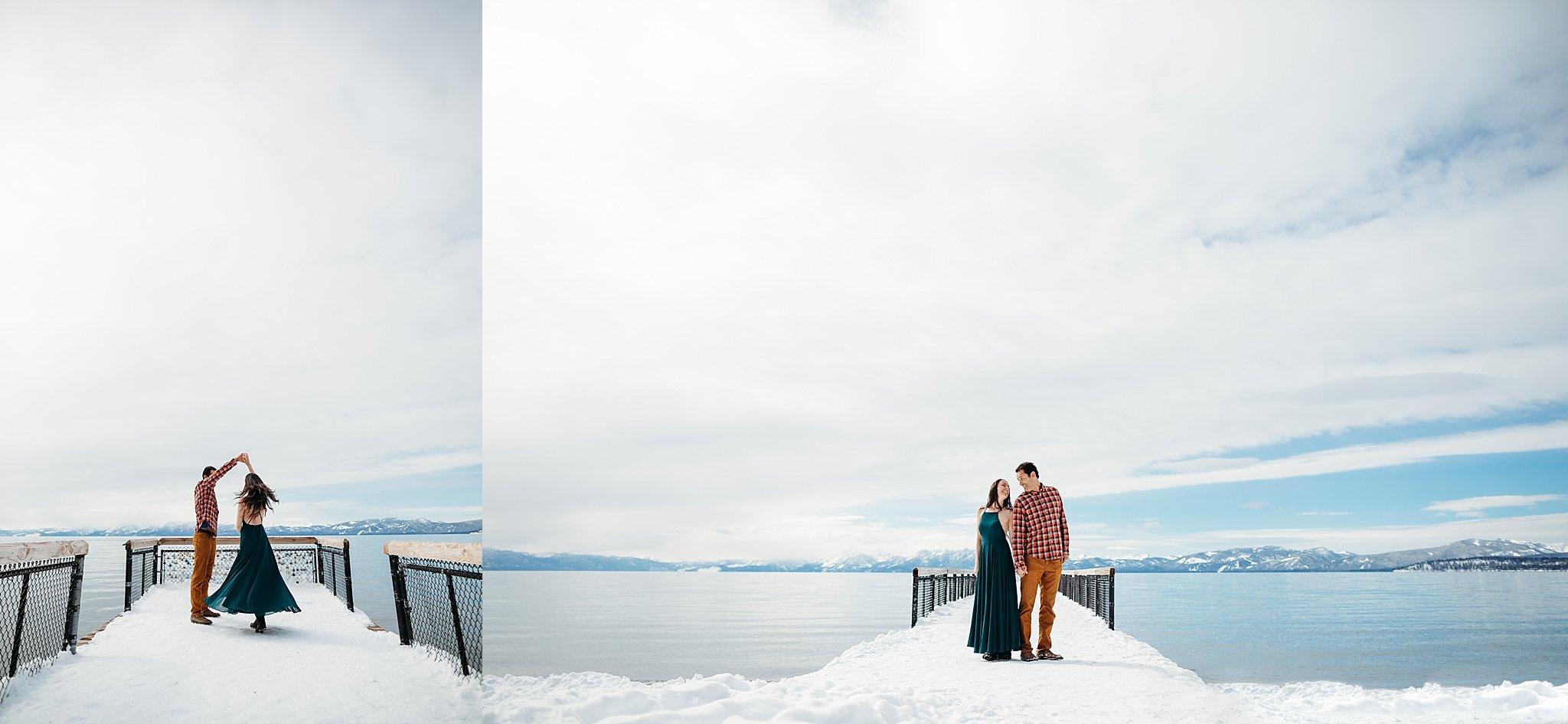 Lake Tahoe Winter Snow engagement couple