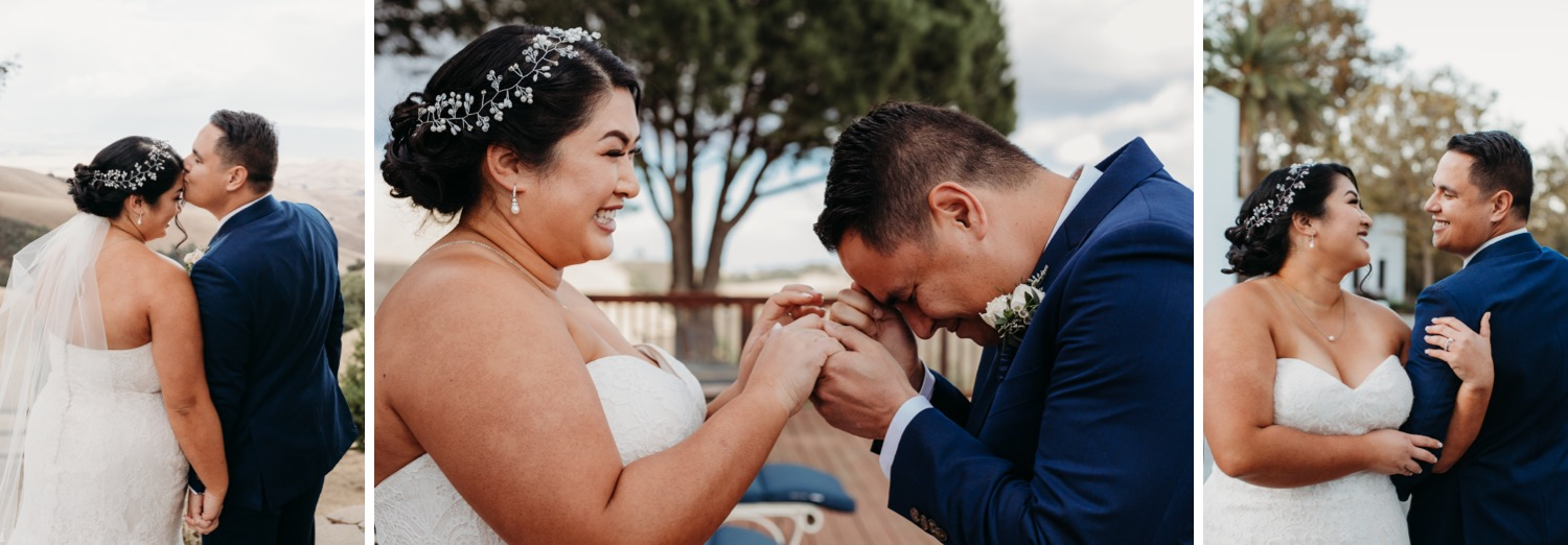 Livermore, California wedding first look with emotional groom