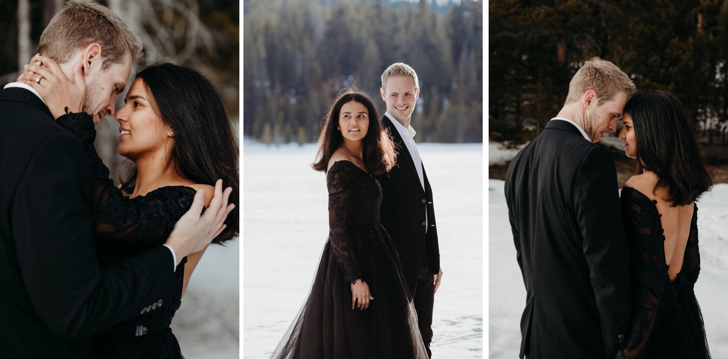 black dress and black suit couples photoshoot in the snow
