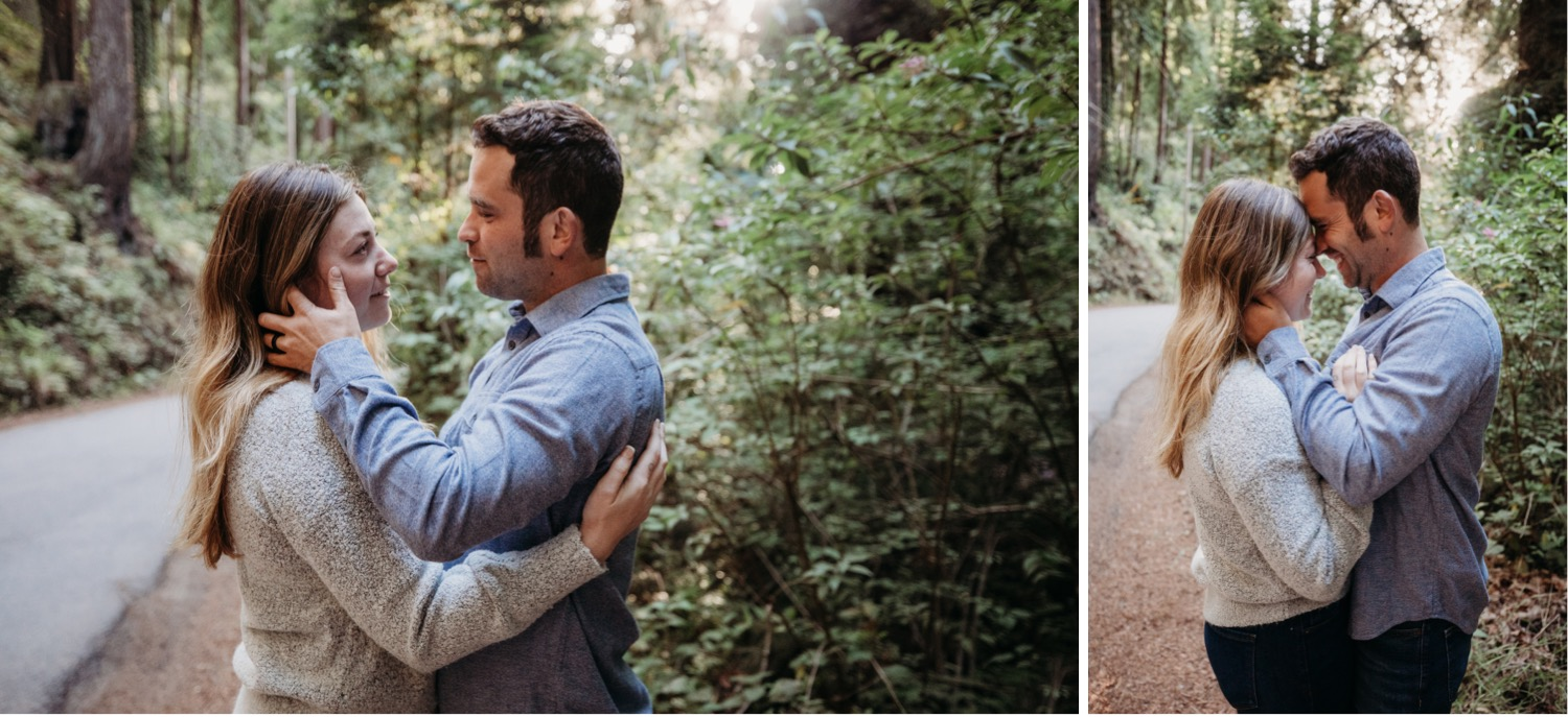 Two images of a couple's engagement photoshoot in Big Sur, California. In one image the couple gaze lovingly at each other. In the second photo they smile and press their foreheads together.