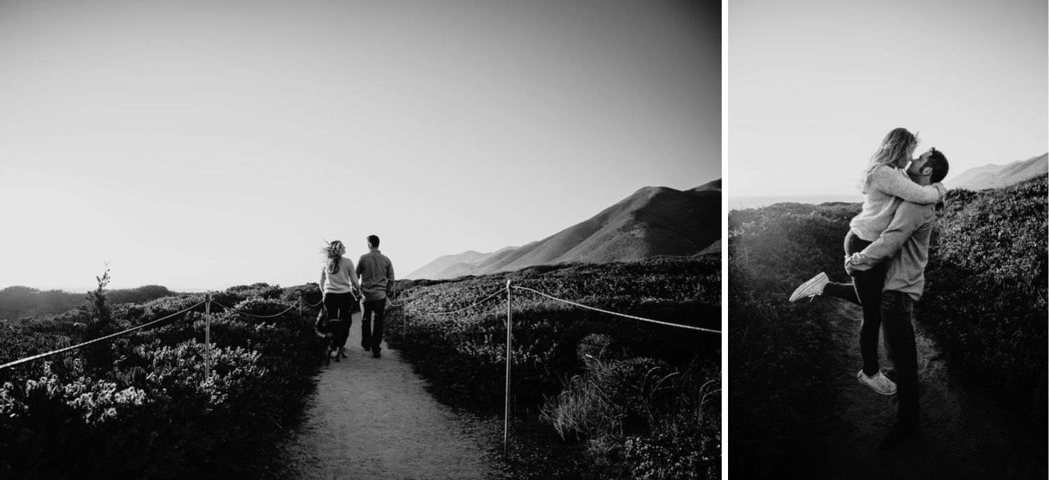 Two black and white images of a couple on their Big Sur engagement photoshoot. In one photo the couple walks holding hands down a path. In the second photo the man lifts his fiance in his arms as they gaze at each other.