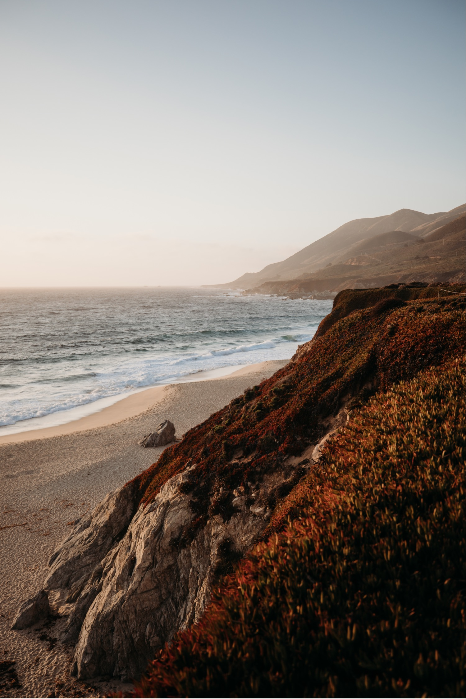 Bluff in Big Sur, California at Sunset