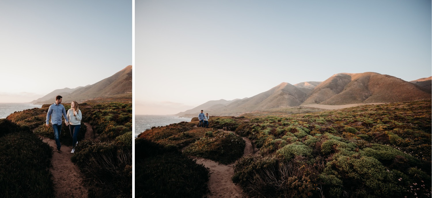 Two images of a couple during their Big Sur, California engagement photoshoot. In one photo the couple walks hand in hand up a trail. In the second photo the couple walks far in the distance holding hands.