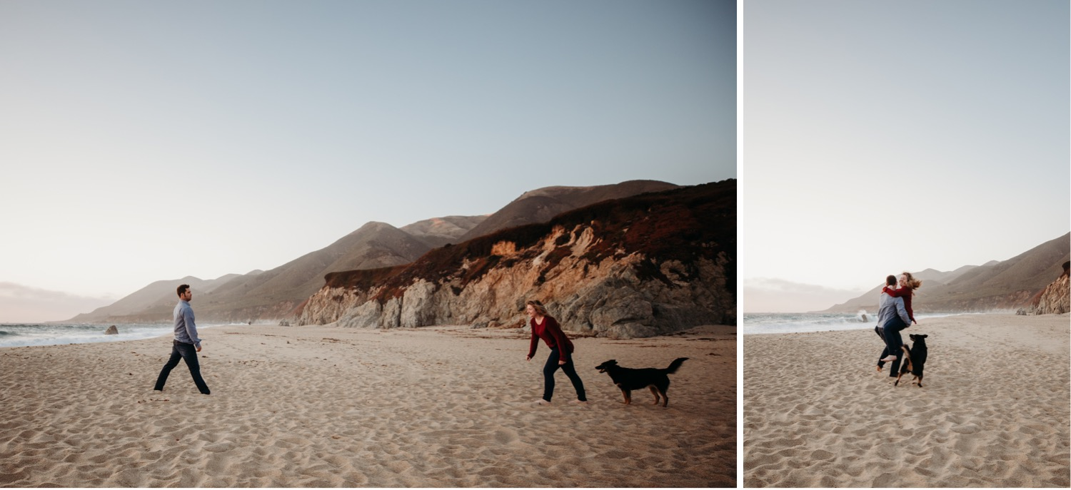 Two photos of a couple and their dog on the beach during their Big Sur engagement photoshoot. In one photo the woman and dog walk towards the man. In the second photo the woman jumps into the mans arms as the dog runs nearby.